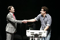 l-r: Jo Stone-Fewings (Joe), Adam Levy (Louis) in ANGELS IN AMERICA  by Tony Kushner at the Lyric Hammersmith, London W6   26/06/2007  a Headlong Theatre /  Citizens Theatre Glasgow / Lyric Hammersmi...
