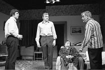 IN CELEBRATION   by David Storey   director: Lindsay Anderson <br>,l-r: Alan Bates (Andrew Shaw), James Bolam (Colin Shaw), Brian Cox (Steven Shaw), Bill Owen (Mr Shaw)   ,Royal Court Theatre, London...