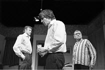 IN CELEBRATION   by David Storey   director: Lindsay Anderson <br>,l-r: James Bolam (Colin Shaw), Alan Bates (Andrew Shaw), Bill Owen (Mr Shaw),Royal Court Theatre, London SW1            22/04/1969,