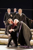 'JULIUS CAESAR' (Shakespeare - director: Deborah Warner   design: Tom Pye   lighting: Jean Kalman),Brutus delivers the fatal blows: (front, l-r) Anton Lesser (Marcus Brutus), John Shrapnel (Julius Cae...