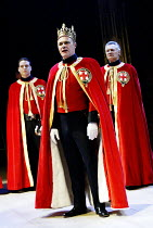 EDWARD III  by Shakespeare  design: Patrick Connellan  lighting: Wayne Dowdeswell  director: Anthony Clark ~front centre: David Rintoul (King Edward III)~Royal Shakespeare Company (RSC), Swan Theatre,...