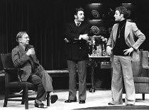 NO MAN'S LAND  by Harold Pinter  design & lighting: John Bury  director: Peter Hall <br> l-r: John Gielgud (Spooner), Terence Rigby (Briggs), Michael Feast (Foster)   National Theatre (NT), The Old...