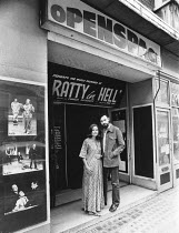 Thelma Holt & Charles Marowitz <br>,outside Open Space Theatre, Tottenham Court Rd, London W1,1976,