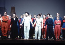 Peter Sellars <br>,American theatre, stage, drama, opera director   ,(in denim, front right) taking a curtain call after a rehearsal of Handel^s ^Theodora^ at Glyndebourne 1996    ,with, front row, fr...