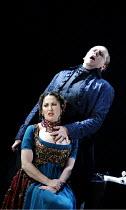 'TOSCA' (Puccini - director: David McVicar),Cheryl Barker (Floria Tosca), Peter Coleman-Wright (Baron Scarpia),English National Opera / London Coliseum             21/11/2002,