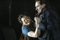 'TOSCA' (Puccini - original director: David McVicar),Claire Rutter (Floria Tosca), Stephen Kechulius (Baron Scarpia),English National Opera / London Coliseum  WC2         05/03/2004,