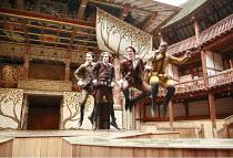 LOVE^S LABOUR^S LOST   by Shakespeare   director: Dominic Dromgoole <br>,III/i - l-r: Trystan Gravelle (Berowne), William Mannering (Longaville), David Oakes (Dumaine), Kobna Holdbrook-Smith (Ferdinan...