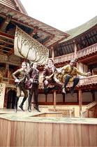 LOVE^S LABOUR^S LOST   by Shakespeare   director: Dominic Dromgoole <br>,III/i - l-r: Trystan Gravelle (Berowne), William Mannering (Longaville), ,David Oakes (Dumaine), Kobna Holdbrook-Smith (Ferdina...
