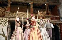 LOVE^S LABOUR^S LOST   by Shakespeare   director: Dominic Dromgoole <br>,IV/i - l-r: Gemma Arterton (Rosaline), Cush Jumbo (Maria), Michelle Terry (Princess of France), Oona Chaplin (Katherine), Andre...