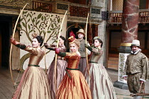 LOVE^S LABOUR^S LOST   by Shakespeare   director: Dominic Dromgoole <br>,IV/i - l-r: Gemma Arterton (Rosaline), Cush Jumbo (Maria), Michelle Terry (Princess of France), Andrew Vincent (Dull), Oona Cha...