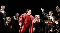 RIGOLETTO   by Verdi   conductor: Renato Palumbo   director: David McVicar <br>,Wookyung Kim (Duke of Mantua) with courtiers,The Royal Opera / Covent Garden   London WC2              09/07/2007   ,