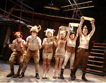 ANIMAL FARM   by George Orwell   adapted by Peter Hall   lyrics: Adrian Mitchell   music: Richard Peaslee   director: Rachel O^Riordan <br>,l-r: Tony Flynn (Squealer), Neil Salvage (Benjamin), Claire...