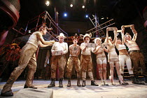 ANIMAL FARM   by George Orwell   adapted by Peter Hall   lyrics: Adrian Mitchell   music: Richard Peaslee   director: Rachel O^Riordan <br>,left: Matthew Woodyatt (Snowball/Mr Whymper),Theatre Royal B...