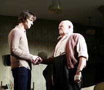 IN CELEBRATION   by David Storey   director: Anna Mackmin <br>,l-r: Paul Hilton (Andrew), Tim Healy (Mr Shaw),Duke of York^s Theatre, London WC2             16/07/2007,