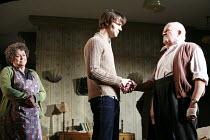 IN CELEBRATION   by David Storey   director: Anna Mackmin <br>,l-r: Lynda Baron (Mrs Burnett), Paul Hilton (Andrew), Tim Healy (Mr Shaw),Duke of York^s Theatre, London WC2             16/07/2007,