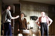 IN CELEBRATION   by David Storey   director: Anna Mackmin <br>,l-r: Paul Hilton (Andrew), Orlando Bloom (Steven), Tim Healy (Mr Shaw),Duke of York^s Theatre, London WC2             16/07/2007,