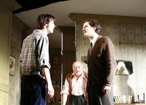 IN CELEBRATION   by David Storey   director: Anna Mackmin <br>,l-r: Paul Hilton (Andrew), Tim Healy (Mr Shaw), Orlando Bloom (Steven),Duke of York^s Theatre, London WC2             16/07/2007,
