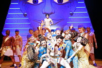 JOSEPH AND THE AMAZING TECHNICOLOR DREAMCOAT   lyrics: Tim Rice   music: Andrew Lloyd Webber   original director: Steven Pimlott  <br> ,front centre: Dean Collinson (Pharaoh) ,Adelphi Theatre, London...