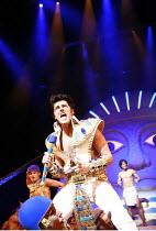 JOSEPH AND THE AMAZING TECHNICOLOR DREAMCOAT   ,lyrics: Tim Rice   music: Andrew Lloyd Webber   original director: Steven Pimlott  <br> ,Dean Collinson (Pharaoh) ,Adelphi Theatre, London WC2...