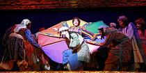 JOSEPH AND THE AMAZING TECHNICOLOR DREAMCOAT   lyrics: Tim Rice   music: Andrew Lloyd Webber   original director: Steven Pimlott  <br> ,top centre: Lee Mead (Joseph) ,Adelphi Theatre, London WC2...