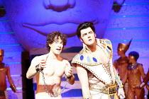 JOSEPH AND THE AMAZING TECHNICOLOR DREAMCOAT,lyrics: Tim Rice   music: Andrew Lloyd Webber   original director: Steven Pimlott <br> ,l-r: Lee Mead (Joseph), Dean Collinson (Pharaoh) ,Adelphi Theatre,...