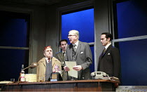 THE HOTHOUSE   by Harold Pinter   director: Ian Rickson <br>,l-r: Henry Woolf (Tubb), Paul Ritter (Lush), Stephen Moore (Roote), Finbar Lynch (Gibbs),Lyttelton Theatre / National Theatre, London SE1...