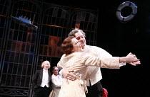 TWELFTH NIGHT   by Shakespeare   director: Philip Franks <br>,II/iii - l-r: Scott Handy (Sir Andrew Aguecheek), Michael Feast (Feste), Suzanne Burden (Maria), Paul Shelley (Sir Toby Belch),Chichester...