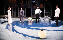 TWELFTH NIGHT   by Shakespeare   director: Philip Franks <br>,II/iii - l-r: Scott Handy (Sir Andrew Aguecheek), Suzanne Burden (Maria), Patrick Stewart (Malvolio), Paul Shelley (Sir Toby Belch), Micha...