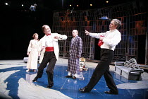 TWELFTH NIGHT   by Shakespeare   director: Philip Franks <br>,II/iii - l-r: Suzanne Burden (Maria), Michael Feast (Feste)  Patrick Stewart (Malvolio), Paul Shelley (Sir Toby Belch),Chichester Festival...