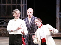 TWELFTH NIGHT   by Shakespeare   director: Philip Franks <br>,l-r: Paul Shelley (Sir Toby Belch), Patrick Stewart (Malvolio), Michael Feast (Feste), Chichester Festival Theatre / West Sussex, England...