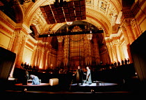'TRISTAN UND ISOLDE' (Wagner)~setting in Leeds Town Hall, with chorus and orchestra behind the stage~on stage, l-r: Anne-Marie Owens (Brang�ne), Susan Bullock (Isolde), Mark Lundberg (Tristan), John W...