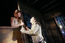 ROMEO AND JULIET   by Shakespeare   director: Polly Findlay ,balcony scene: Natasha Barrero (Juliet), Jack Gordon (Romeo),Battersea Arts Centre (BAC), London SW11                        24/07/2007   ,
