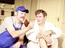 IN THE CLUB   by Richard Bean   director: David Grindley <br>,l-r: Huw Higginson (Andre), James Fleet (Philip Wardrobe),Hampstead Theatre, London NW3                  02/08/2007,