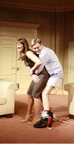 IN THE CLUB   by Richard Bean   director: David Grindley <br>,Carla Mendonca (Nicola Daws), James Fleet (Philip Wardrobe),Hampstead Theatre, London NW3                  02/08/2007,