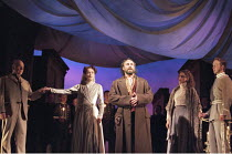 THE WINTER'S TALE by Shakespeare  design: Robert Jones  lighting: Tim Mitchell  director: Gregory Doran ~V/iii - l-r: Ken Bones (Polixenes), Alexandra Gilbreath (Hermione), Antony Sher (Leontes), Emil...