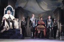 THE WINTER'S TALE by Shakespeare  design: Robert Jones  lighting: Tim Mitchell  director: Gregory Doran ~left: Antony Sher (King Leontes) at court~Royal Shakespeare Company (RSC), Royal Shakespeare Th...
