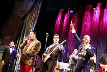 BUDDY - The Buddy Holly Story   director: Rob Bettinson <br>,front l-r: Lee Ormsby (The Big Bopper), Matthew Wycliffe (Buddy Holly), Miguel Angel (Ritchie Valens),Duchess Theatre, London WC2...