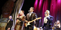 BUDDY - The Buddy Holly Story   director: Rob Bettinson <br>,front, l-r: Lee Ormsby (The Big Bopper), Matthew Wycliffe (Buddy Holly), Miguel Angel (Ritchie Valens),Duchess Theatre, London WC2...