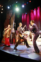 BUDDY - The Buddy Holly Story   director: Rob Bettinson <br>,front, l-r: Lee Ormsby (The Big Bopper), Matthew Wycliffe (Buddy Holly), Miguel Angel (Ritchie Valens)   ,Duchess Theatre, London WC2...
