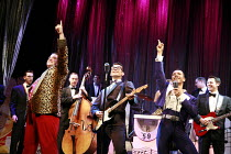 BUDDY - The Buddy Holly Story   director: Rob Bettinson <br>,front l-r: Lee Ormsby (The Big Bopper), Matthew Wycliffe (Buddy Holly), Miguel Angel (Ritchie Valens)   ,Duchess Theatre, London WC2...