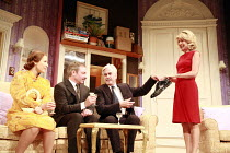 HOW THE OTHER HALF LOVES   by Alan Ayckbourn   director: Alan Strachan <br>,l-r: Amanda Royle (Mary Featherstone), Paul Kemp (William Featherstone), Nicholas le Prevost (Frank Foster), Marsha Fitzalan...