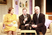 HOW THE OTHER HALF LOVES   by Alan Ayckbourn   director: Alan Strachan <br>,l-r: Amanda Royle (Mary Featherstone), Paul Kemp (William Featherstone), Nicholas le Prevost (Frank Foster),Theatre Royal Ba...