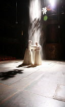RICHARD II   by Shakespeare   director: Michael Boyd <br>,V/i: Hannah Barrie (Queen Isabel), Jonathan Slinger (King Richard II) with falling sand,Royal Shakespeare Company / Courtyard Theatre, Stratfo...