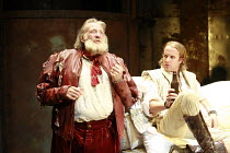 HENRY IV part i   by Shakespeare   director: Michael Boyd <br>,I/ii - l-r: David Warner (Sir John Falstaff), Geoffrey Streatfeild (Prince Henry / Hal),Royal Shakespeare Company / Courtyard Theatre, St...