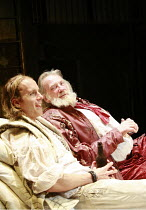 HENRY IV part i   by Shakespeare   director: Michael Boyd <br>,I/ii - l-r: Geoffrey Streatfeild (Prince Henry / Hal), David Warner (Sir John Falstaff),Royal Shakespeare Company / Courtyard Theatre, St...