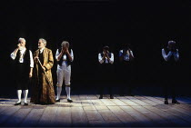 THE TEMPEST  by Shakespeare  design: Anthony Ward  lighting: Paul Pyant  movement: Terry John Bates  director: Sam Mendes <br> front left: Clifford Rose (Gonzalo), Alec McCowen (Prospero), Royal Sha...