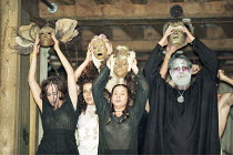 """OTRA TEMPESTAD (Another Tempest)   after Shakespeare   director: Flora Lauten<br>,right: Orestes Pérez (Prospero) with members of the company and masks,Teatro Buendia / Cuba   Shakespeare""""s Globe, Lo..."""