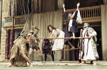 OTRA TEMPESTAD (Another Tempest)   after Shakespeare   director: Flora Lauten<br>,storm, shipwreck scene   l-r from centre: Juana Garcia (Miranda), Pablo Guevara (Shylock), Orestes Pérez (Prospero) ,...