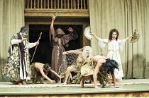 OTRA TEMPESTAD (Another Tempest)   after Shakespeare   director: Flora Lauten<br>,left: Orestes Pérez (Prospero)   rear, in habit: José Juan Rodriques (Macbeth)   in net: Dania Aguerreberez (Sycorax...