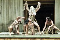 "OTRA TEMPESTAD (Another Tempest)   after Shakespeare   director: Flora Lauten<br>,standing centre: Dania Aguerreberez (Sycorax),Teatro Buendia / Cuba   Shakespeare""s Globe, London SE1..."